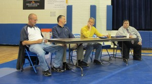 Superintendent Jon Willman, right, and members of the Hamilton Community School Board take questions about the referendum during a public meeting on Oct. 17, 2012. The school corporation is pursuing a property tax increase of 44 cents per $100 of assessed valuation.