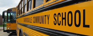 A bus waiting outside Hose Elementary School in Crawfordsville.
