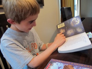 Andrew Locke, 9, talks about his favorite books, The Guardians of Ga'Hoole series by Kathryn Lasky. Even though Andrew has dyslexia and ADHD, he says he loves to read, especially stories about his favorite animal — owls.