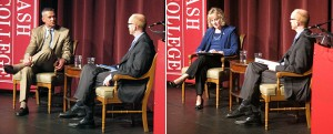 Glenda Ritz, left, and Tony Bennett answered questions during a candidate forum Wednesday, Oct. 24, 2012, at Wabash College in Crawfordsville, Ind. The League of Women Voters sponsored the event.