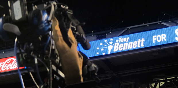 A logo for Republican Tony Bennett's campaign displayed on a scoreboard at Lucas Oil Stadium, where the Indiana GOP held its Election Night watch party. Bennett, the incumbent, is running against Democrat Glenda Ritz for the state superintendent's office.