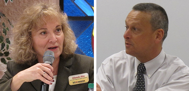 Democratic state superintendent candidate Glenda Ritz (left) hopes to unseat Republican incumbent Tony Bennett on November 6.