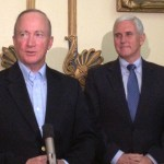 Former governor Mitch Daniels (left) oversaw the creation of the state's voucher program. Under the program passed in 2011, students from low income families could receive a voucher and only if they attended a public school for two semesters. Governor Mike Pence advocated for an expansion of the program in 2013, and the General Assembly listened; nowadays, there are seven ways a student can qualify for a voucher and it's available to middle and upper middle class families.