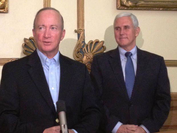 Former governor Mitch Daniels (left) oversaw the creation of the state's voucher program. Under the program passed in 2011, students from low income families could receive a voucher and only if they attended a public school for two semesters. Governor...</p>						<div class=