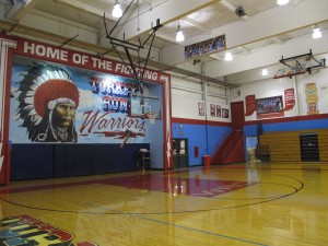Turkey Run Principal Dwight Ashley says the gym of the junior-senior high school is a good example of the district's heritage.
