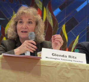 State superintendent-elect Glenda Ritz appears at a public forum in Indianapolis two weeks before election day.