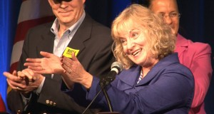 Democrat Glenda Ritz celebrates her victory in the race for Indiana Superintendent of Public Instruction. She unseated incumbent Republican Tony Bennett in the night's most stunning upset.