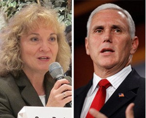Superintendent Ritz, left, and Gov. Mike Pence have agreed to bring in the National Association of School Board of Education to help determine roles and responsibilities of the State Board.