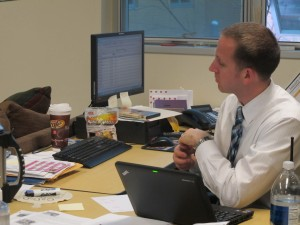 Steve Samuel, an assistant principal at Ben Davis Ninth Grade Center, observes a teacher evaluation.