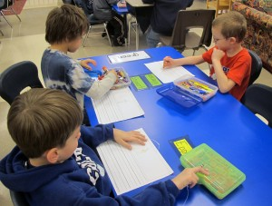 Kindergarteners at East Side Elementary in Brazil practice their writing skills.