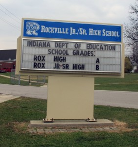 Rockville High School received an A from the state and the junior high received a B. Indiana uses a different accountability system for high schools than it does for elementary schools.