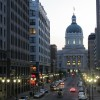 Looking down Market Street from the Soldiers & Sailors Monument at the Indiana Statehouse.