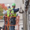 Crews at work on a building on the IU Bloomington campus.
