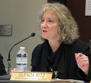 State superintendent Glenda Ritz chairs a meeting of the State Board of Education.