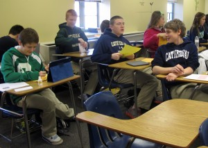 Students work on research notecards in Melinda Bundy's ninth grade English class at Cathedral High School in Indianapolis.
