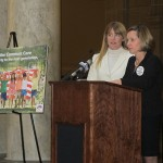 Erin Tuttle and Heather Crossin speak at a statehouse rally, calling for Indiana's withdrawal from the Common Core State Standards.