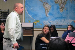 Teacher Wes Upton lectures on World War I at Ben Davis Ninth Grade Center in Indianapolis.