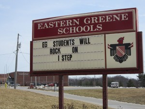 The sign outside a Greene County school encourages students as ISTEP+ testing gets underway.