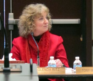 State Superintendent Glenda Ritz asks board members for their thoughts on school accountability during her first Indiana Board of Education study session.