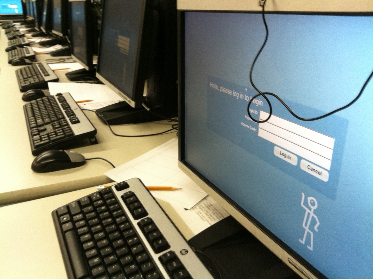A login screen on a computer in an area set up for online ISTEP+ testing at Tecumseh Junior High School in Lafayette. The team charged with setting up more than 250 computers to administer assessments to rotating groups of more than 1,000 Tecumseh students worry Monday's glitches could slow down students taking exams on Tuesday.