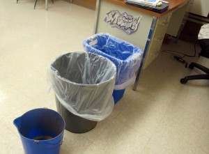 It's a common scene at Tuttle Middle School in Crawfordsville: Classrooms lined with trash cans to catch the rain leaking from the ceiling. The district will open a new school in 2015.