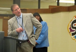 Facilities Manager Darren Hess and Snider High School Principal Deborah Watson explain Fort Wayne Community Schools' plan to renovate 36 buildings.