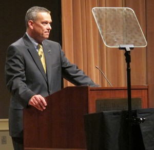 Former state superintendent Tony Bennett delivers a speech in Indianapolis.