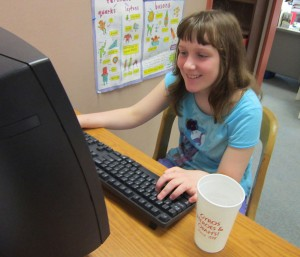 Bloomington fifth grader Georgie Stevens plays a computer game. On Monday, April 29, Georgie's class was among the first in the Indiana to feel the impacts of the server errors that ground testing to a halt across the state.