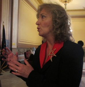State Supt. Glenda Ritz takes questions from reporters after the July 19, 2013, State Board of Education meeting.