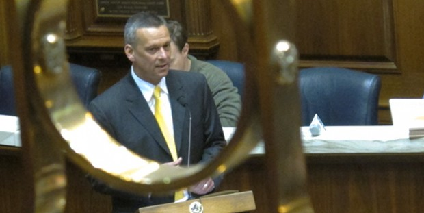 Then-state superintendent Tony Bennett speaks on the floor of the Indiana House in April 2012.