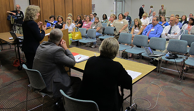State superintendent Glenda Ritz addresses an audience of southwest Indiana educators at an Evansville public library. She was speaking at a launch event for the Department of Education's Outreach Division.