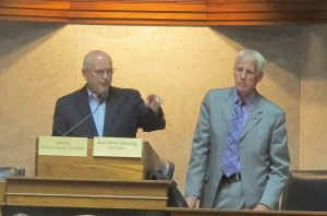 Sen. Dennis Kruse, R-Auburn, and Rep. Bob Behning, R-Indianapolis, open a statehouse hearing on the Common Core academic standards.