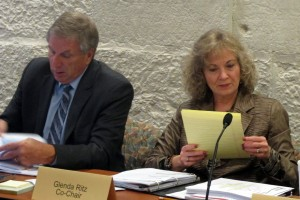 State Superintendent Glenda Ritz, right, and her A-F accountability panel co-chair, Steve Yager, prepare for the group's second meeting.