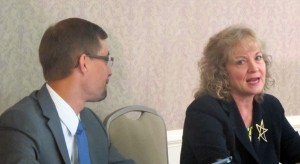 State Superintendent Glenda Ritz, right, chats with Education Commission of the States President Jeremy Anderson before an event at Indiana University Monday.