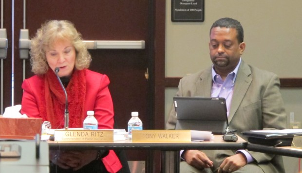 State Superintendent Glenda Ritz and State Board of Education member Tony Walker at the February meeting.
