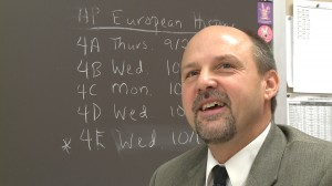 Bloomington High School South AP European History teacher Matt Hoagland in his classroom.