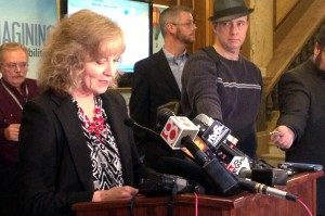State Superintendent Glenda Ritz answers reporters' questions after filing suit against the other members of the State Board, alleging violations of Indiana's Open Door Law.