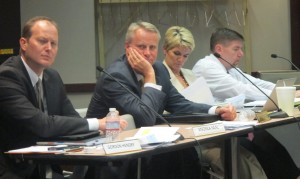 State Board of Education members Gordon Hendry, Dan Elsener, Cari Whicker and Brad Oliver listen to a presentation during the October meeting.