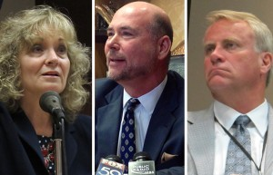 From left: State Superintendent Glenda Ritz, House Speaker Brian Bosma & State Board Secretary Dan Elsener.