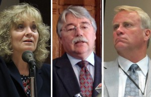 From left to right, state superintendent Glenda Ritz, Indiana Attorney General Greg Zoeller and State Board of Education member Dan Elsener.