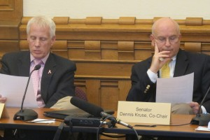 Rep. Bob Behning, R-Indianapolis, left, and Dennis Kruse, R-Auburn, co-chaired the interim study committee on the Common Core.