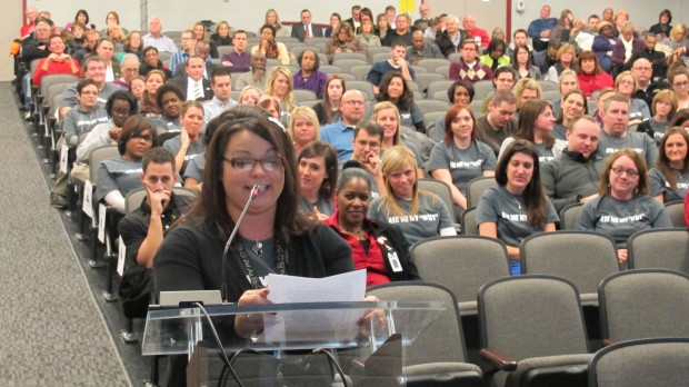 Fourth grade teacher Amber Santana gives testimony at a public hearing on the future of Glenwood Leadership Academy in Evansville. Nearly 200 people, including neighbors, community leaders and school staff, attended.