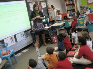 A second-grade Glenwood teacher leads a math lesson.