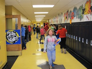 Students at Cannelton Junior-Senior High School pass between classes. The corporation's enrollment — of around 250 — is one of the state's smallest.