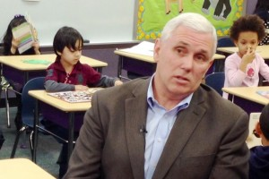 Gov. Mike Pence advocates for a state-funded preschool pilot program at an Indianapolis preschool.