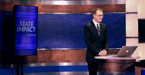 This reporter on the set of the WTIU newsmagazine 'Indiana Newsdesk.'