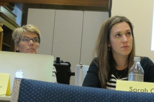 State Board of Education members Cari Whicker and Sarah O'Brien listen during the Indianapolis public meeting on academic standards.