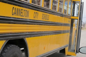 Students board a Cannelton City Schools bus.
