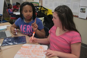 Students in Fatonia Shank's fourth grade class at Indianapolis' Liberty Park Elementary solve a multi-step math problem.