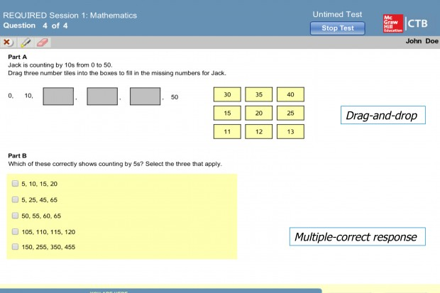 A sample math problem from the new CoreLink test would require students 'drag and drop' the next numbers in a sequence.
